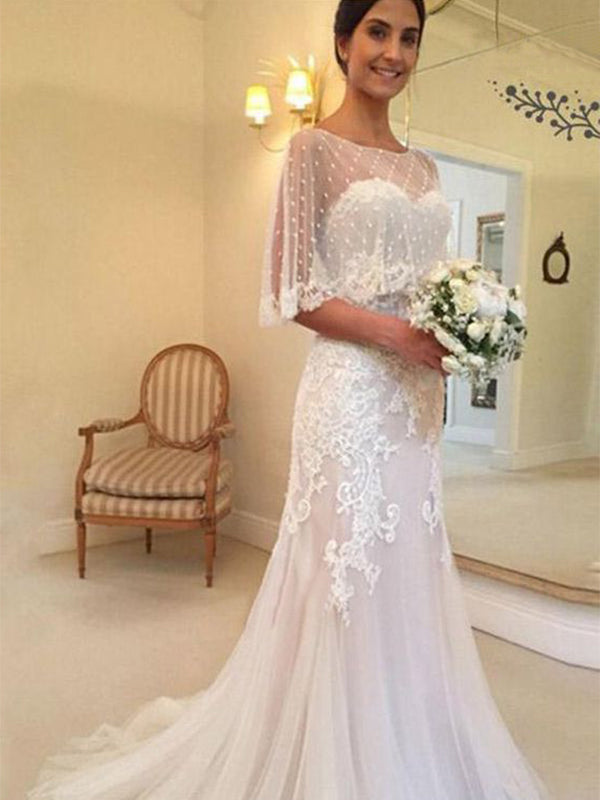 Sheath/Column Tulle Applique Sweetheart Sleeveless Sweep/Brush Train Wedding Dresses YB33PO2032