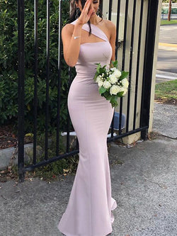Sheath Sleeveless One-Shoulder Floor-Length Stretch Crepe Bridesmaid Dresses
