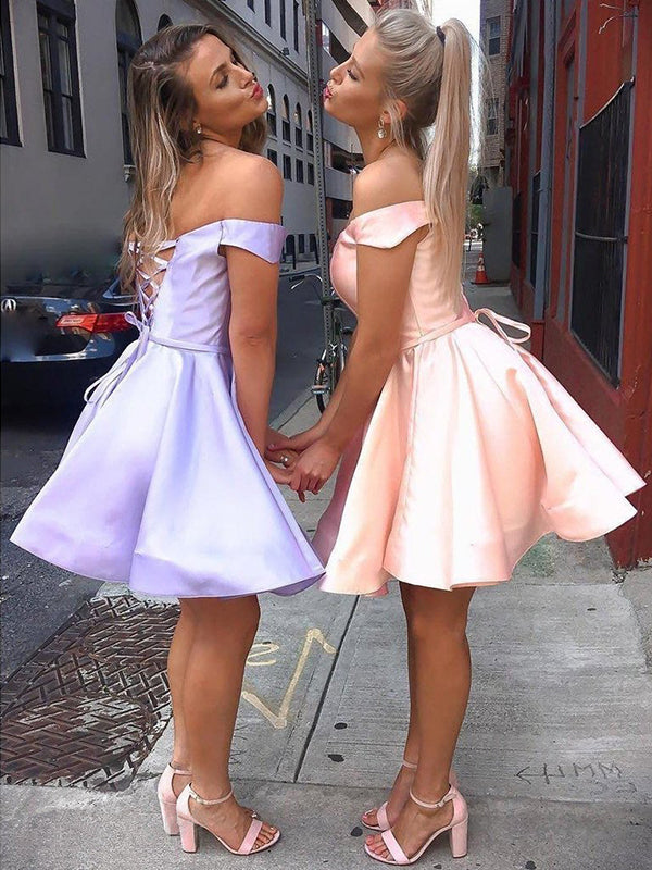 A-Line/Princess Satin Ruffles Off-the-Shoulder Sleeveless Short/Mini Homecoming Dresses YB33PO2061