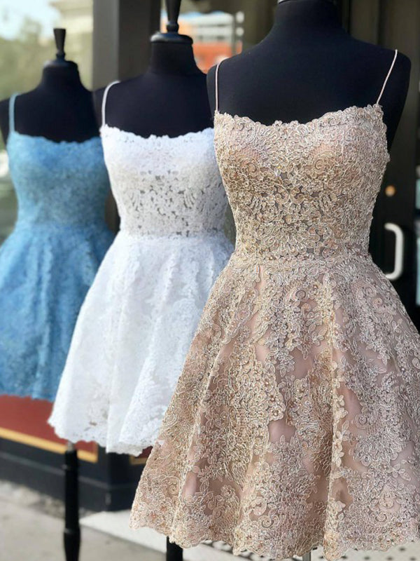 A-Line/Princess Lace Applique Spaghetti Straps Sleeveless Short/Mini Homecoming Dresses YB33PO2067