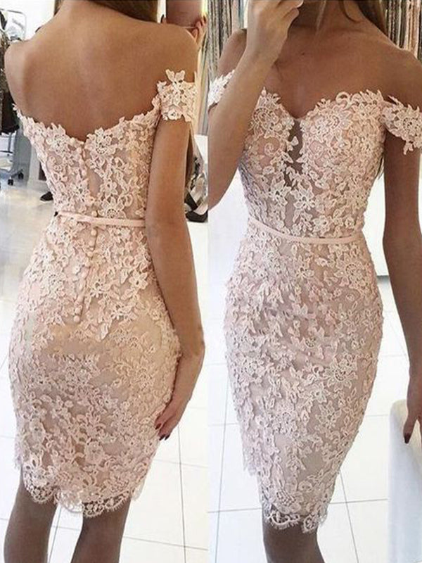 Sheath/Column Lace Off-the-Shoulder Sleeveless Knee-Length Homecoming Dresses YB33PO2074