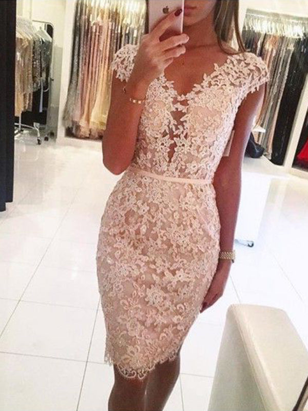 Sheath/Column Lace V-neck Sleeveless Knee-Length Homecoming Dresses YB33PO2075