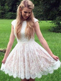 A-Line/Princess Lace Pearls Sheer Neck Sleeveless Short/Mini Homecoming Dresses YB33PO2079