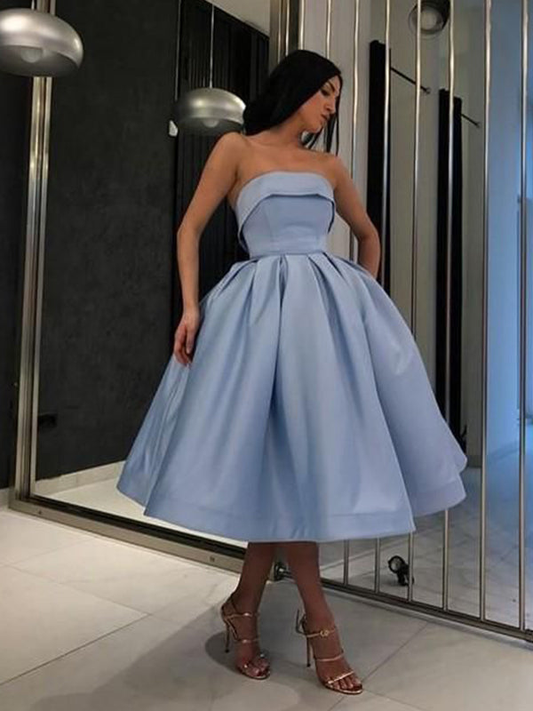 Ball Gown Satin Ruffles Strapless Sleeveless Tea-Length Homecoming Dresses YB33PO2100