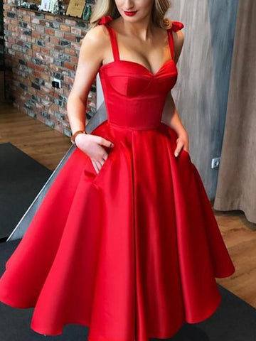 A-Line/Princess Satin Bowknot Straps Sleeveless Tea-Length Homecoming Dresses YB33PO2101