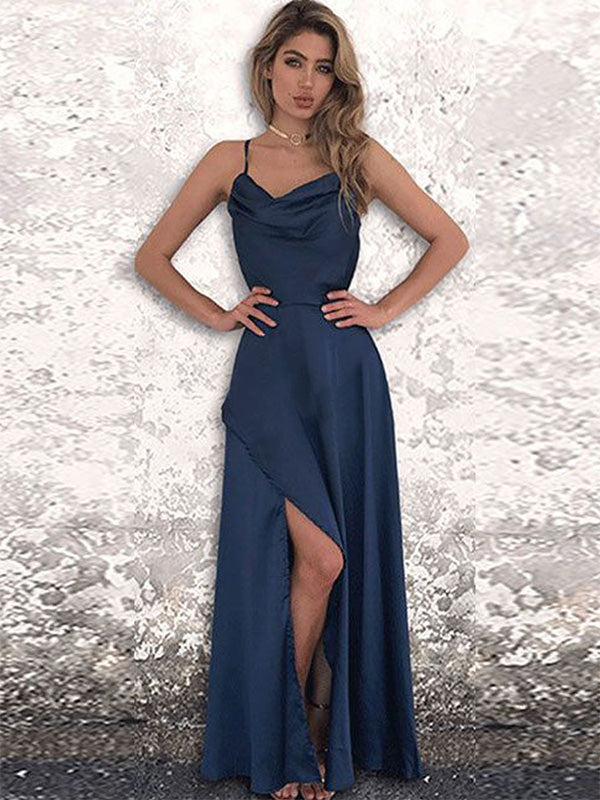 A-Line/Princess Satin Chiffon Spaghetti Straps Floor-Length Ruched Sleeveless Dresses