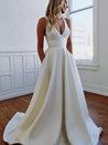 A-Line/Princess V-neck Stretch Crepe Ruffles Sleeveless Sweep/Brush Train Wedding Dresses