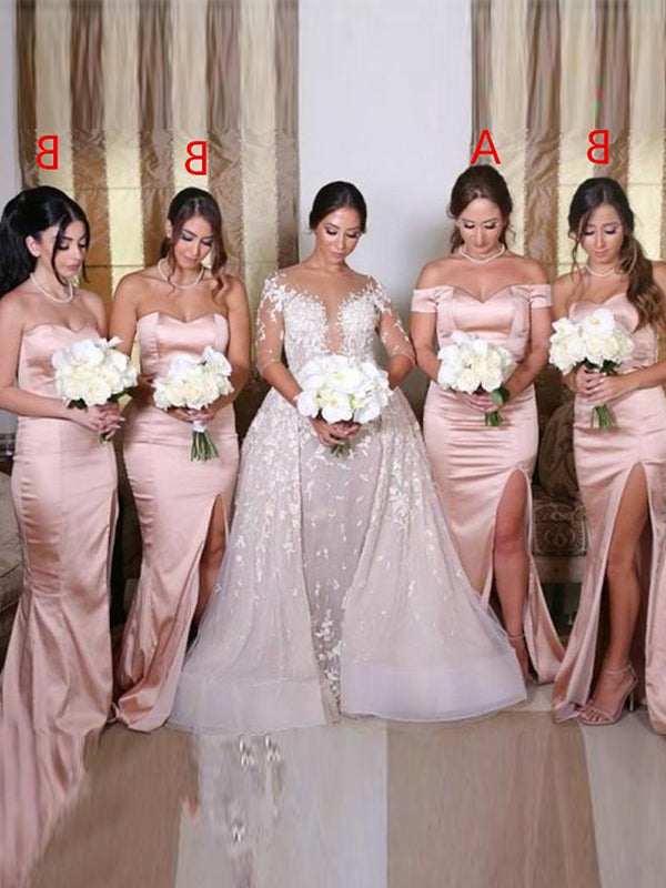 Sheath/Column Satin Sweetheart Sleeveless Ruched Sweep/Brush Train Bridesmaid Dresses