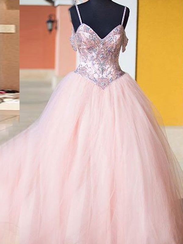 Stylish Ball Gown Spaghetti Straps Sleeveless Tulle Crystal Floor-Length Dresses YB33PO347