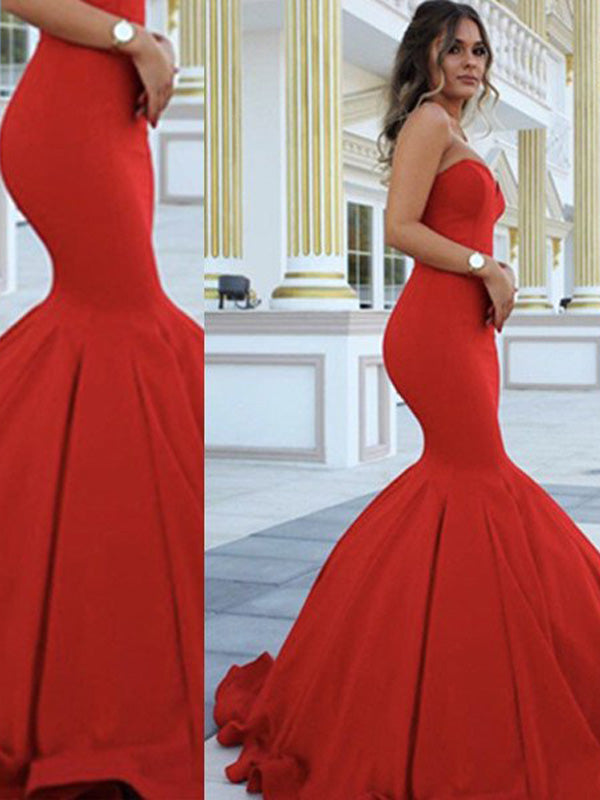Fashion Trumpet/Mermaid Sleeveless Sweep Train Sweetheart Satin Dresses YB33PO350