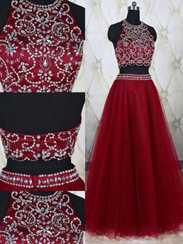 Fashion A-Line/Princess Jewel Tulle Sleeveless Beading Floor-Length Two Piece Dresses YB33PO372