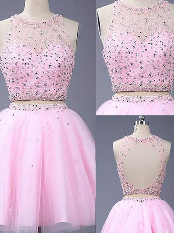 Fashion A-Line/Princess Scoop Short/Mini Sleeveless Beading Tulle Two Piece Dresses YB33PO380