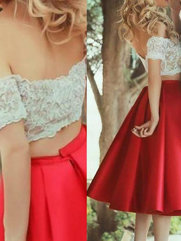 Fashion A-Line/Princess Off-the-Shoulder Satin Sleeveless Lace Knee-Length Two Piece Dresses YB33PO404