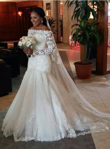 Stylish Trumpet/Mermaid Long Sleeves Lace Off-the-Shoulder Sweep Train Tulle Wedding Dresses YB33PO508