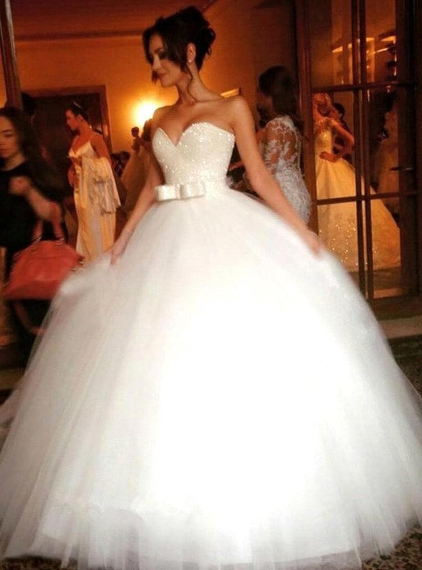 Ball Gown Tulle Sweetheart Sleeveless Floor-Length With Bowknot Wedding Dresses