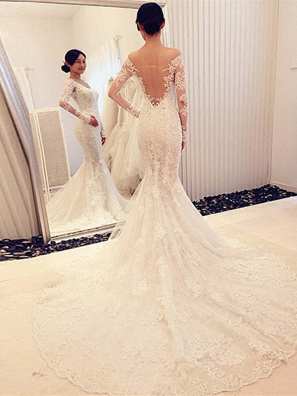Fashion Trumpet/Mermaid Long Sleeves Lace Off-the-Shoulder Chapel Train Wedding Dresses YB33PO513