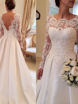 Ball Gown Satin Scoop Long Sleeves Court Train With Lace Wedding Dresses