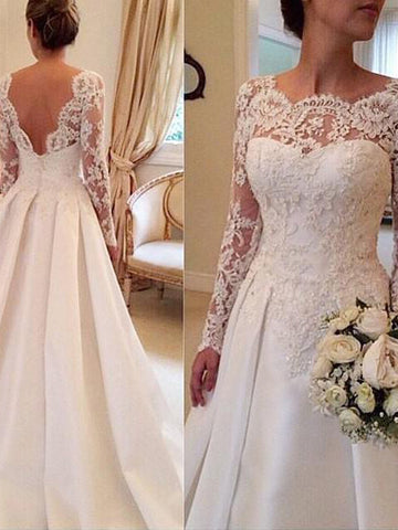 Stylish Ball Gown Long Sleeves Lace Scoop Court Train Satin Wedding Dresses YB33PO514