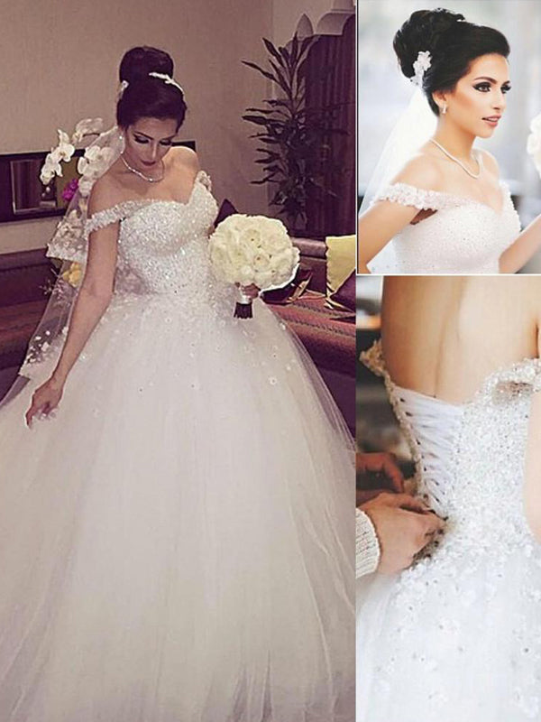 Stylish Ball Gown Sleeveless Lace Off-the-Shoulder Court Train Tulle Wedding Dresses YB33PO536