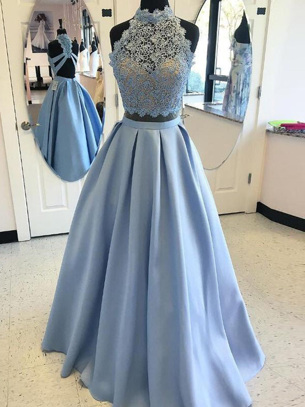 Stylish Ball Gown Sleeveless Floor-Length High Neck Applique Satin Two Piece Dresses YB33PO545