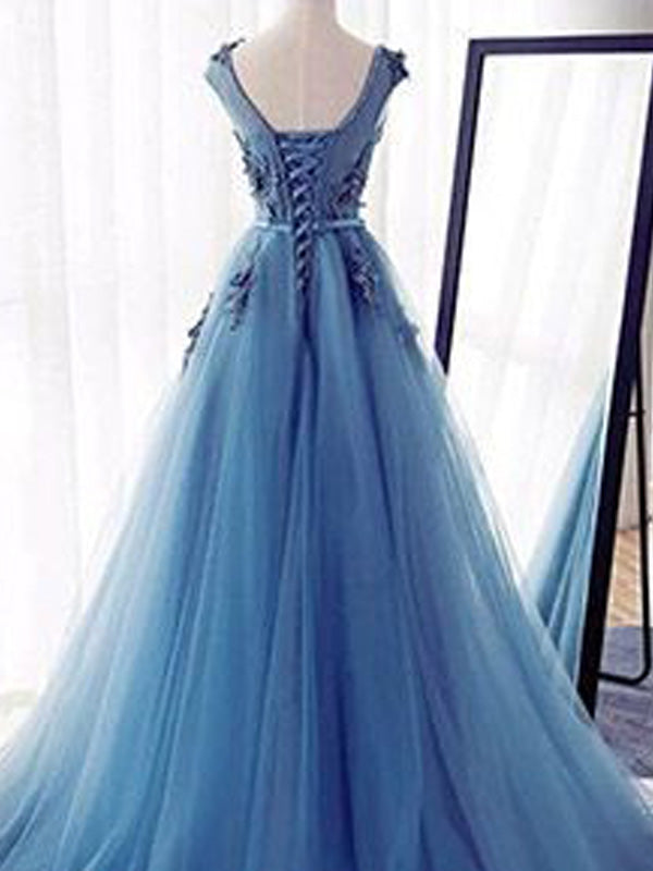 Stylish Ball Gown Jewel Sweep Train Sleeveless Applique Tulle Dresses YB33PO546