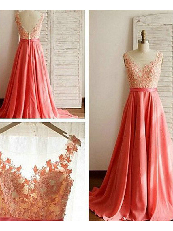 Stylish A-Line/Princess Sweetheart Sweep Train Sleeveless Lace Chiffon Bridesmaid Dresses YB33PO571