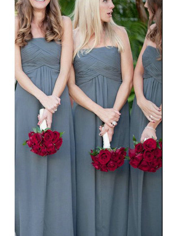 Fashion A-Line/Princess Strapless Ruched Sleeveless Floor-Length Chiffon Bridesmaid Dresses YB33PO574