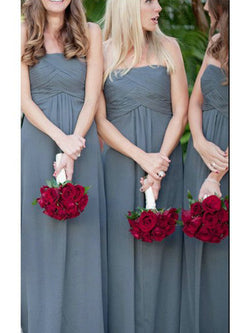 A-Line Chiffon Strapless Floor-Length Sleeveless With Ruched Bridesmaid Dresses