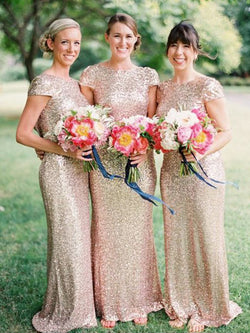 Sheath Sequins Bateau Short Sleeves Floor-Length With Sequin Bridesmaid Dresses