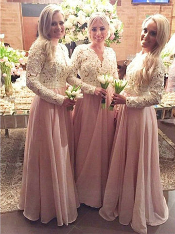 Stylish A-Line/Princess V-neck Floor-Length Long Sleeves Lace Chiffon Bridesmaid Dresses YB33PO581
