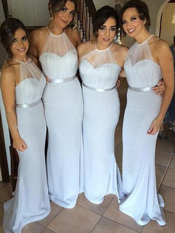Fashion Sheath/Column Sash/Ribbon/Belt Floor-Length Sleeveless Halter Chiffon Bridesmaid Dresses YB33PO582