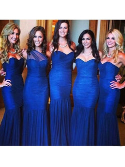 Mermaid Tulle Sweetheart Sleeveless Floor-Length With Ruched Bridesmaid Dresses