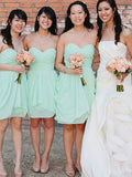 Stylish A-Line/Princess Sweetheart Short/Mini Sleeveless Chiffon Bridesmaid Dresses YB33PO589