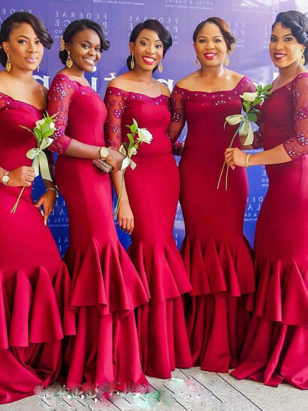 Fashion Trumpet/Mermaid Off-the-Shoulder Floor-Length 3/4 Sleeves Ruched Satin Bridesmaid Dresses YB33PO590