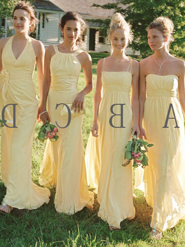 Fashion A-Line/Princess Floor-Length Chiffon Sleeveless Bridesmaid Dresses YB33PO592