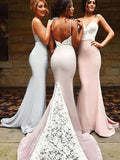 Fashion Trumpet/Mermaid Sleeveless Sweep/Brush Sweetheart Train Lace Spandex Bridesmaid Dresses YB33PO736