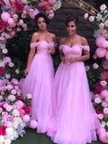 Stylish A-Line/Princess Sleeveless Floor-Length Off-the-Shoulder Applique Tulle Bridesmaid Dresses YB33PO606