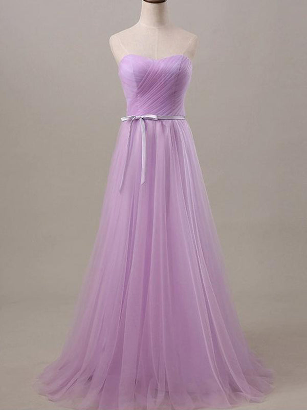 Stylish A-Line/Princess Sweetheart Floor-Length Sleeveless Sash/Ribbon/Belt Tulle Bridesmaid Dresses YB33PO612