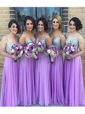 Stylish A-Line/Princess Sweetheart Floor-Length Sleeveless Sequin Chiffon Bridesmaid Dresses YB33PO614