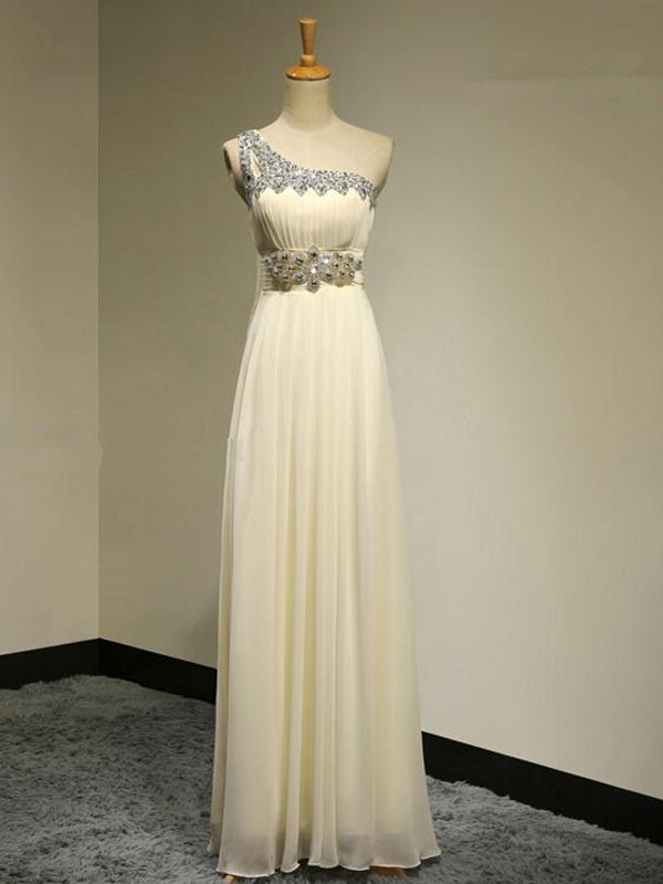 Fashion A-Line/Princess Sleeveless Floor-Length One-Shoulder Beading Chiffon Bridesmaid Dresses YB33PO615