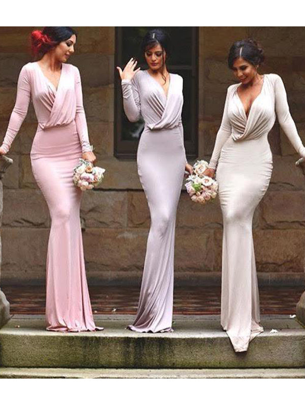 Fashion Sheath/Column Floor-Length Sleeveless V-neck Jersey Bridesmaid Dresses YB33PO617