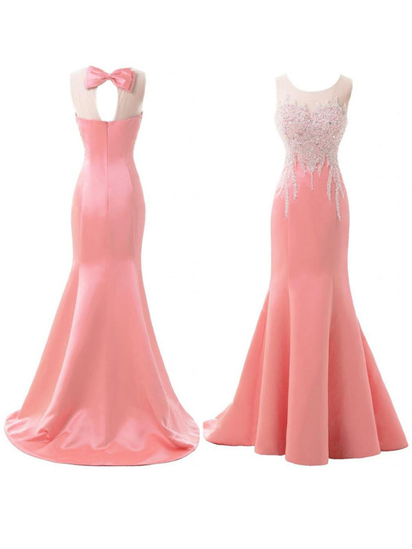 Fashion Trumpet/Mermaid Sleeveless Sweep/Brush Scoop Train Satin Beading Bridesmaid Dresses YB33PO624