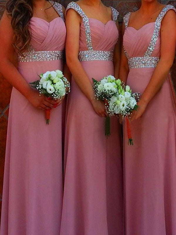 Stylish A-Line/Princess Sweetheart Floor-Length Sleeveless Beading Chiffon Bridesmaid Dresses YB33PO625