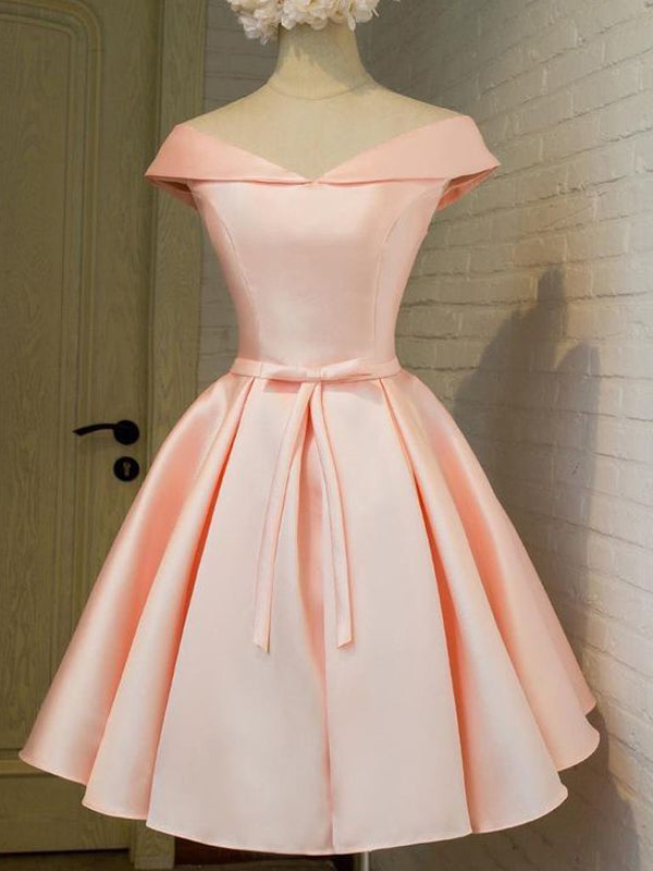 Fashion A-Line/Princess Sleeveless Sash/Ribbon/Belt V-neck Satin Short/Mini Dresses YB33PO638