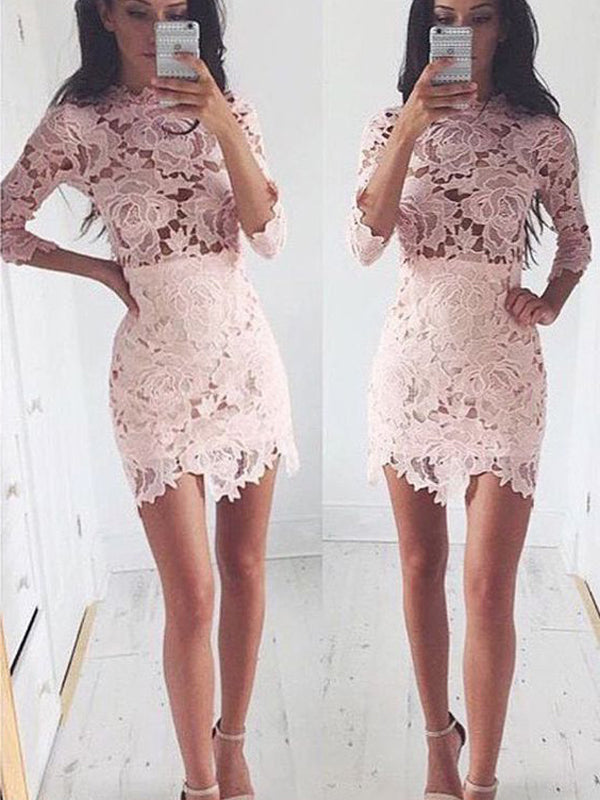 Stylish A-Line/Princess Scoop Lace 1/2 Sleeves Short/Mini Dresses YB33PO651