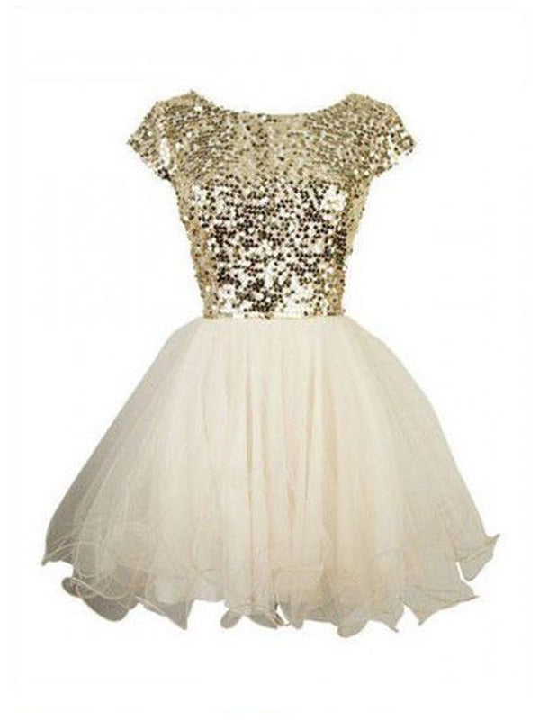 Stylish A-Line/Princess Scoop Sequin Sleeveless Tulle Short/Mini Dresses YB33PO663