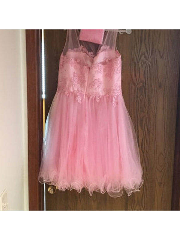 Stylish A-Line/Princess Scoop Applique Sleeveless Tulle Short/Mini Dresses YB33PO669