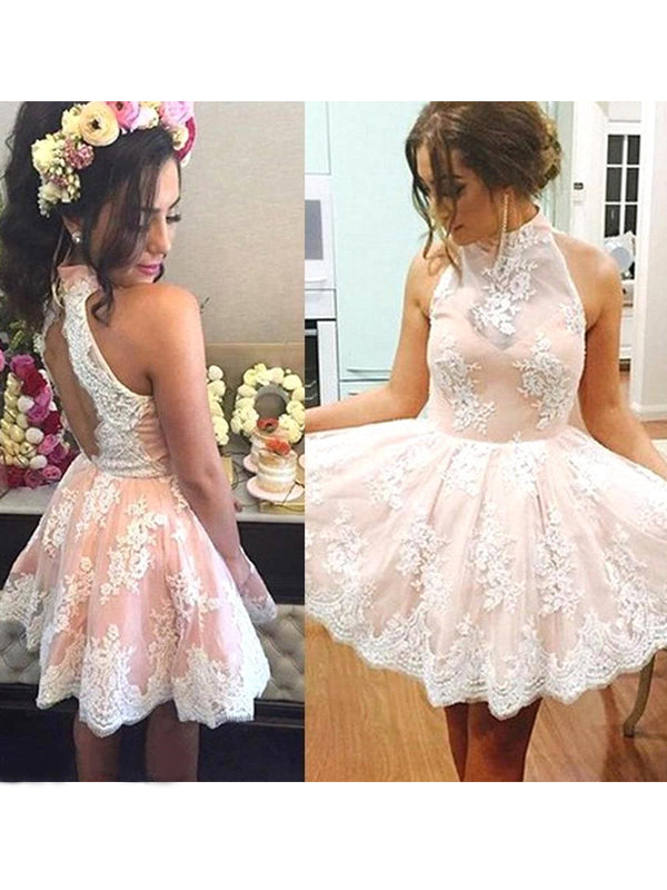 Fashion A-Line/Princess High Neck Lace Sleeveless Short/Mini Dresses YB33PO696