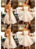 Stylish A-Line/Princess Sweetheart Applique Sleeveless Tulle Short/Mini Dresses YB33PO718
