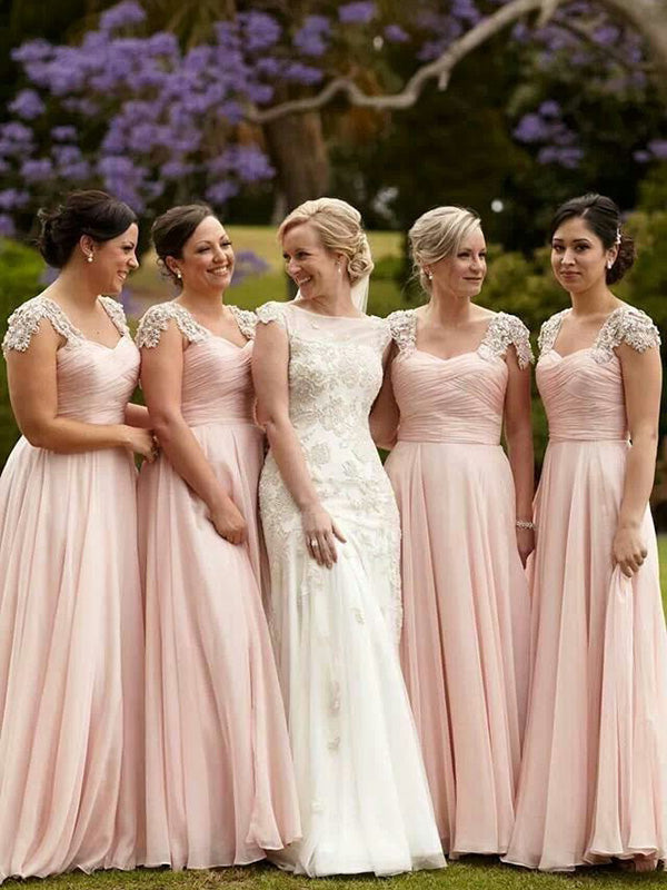 Stylish A-Line/Princess Square Beading Short Sleeves Chiffon Floor-Length Bridesmaid Dresses YB44134